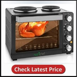 NutriChef Kitchen Convection Oven - Countertop Turbo, Rotisserie Roaster Cooker
