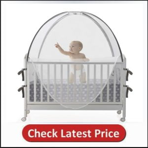 ACRABROS Safety Baby Crib Tent (Bed-Canopy)Protect Baby from Mosquito Bites, Falls and Semi-auto Lock Zipper, Stable Frame, See Through Mesh Crib Net Cover, Unisex Grey Arrow Pattern