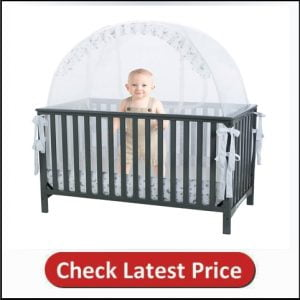 Baby Crib Safety Pop up Tent - See Through Mesh Top Nursery Mosquito Net