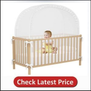 VFFUNNX Crib Netting Baby Crib Tent Pop up Tent Crib Cover to Keep Baby from Climbing Out Crib Tent