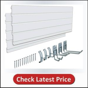 AA033 PVC 48 inch Slat Wall Panel,Track Wall Slat System For Garage Wall Storage with 6 Pieces Hooks for Tools and sports storage